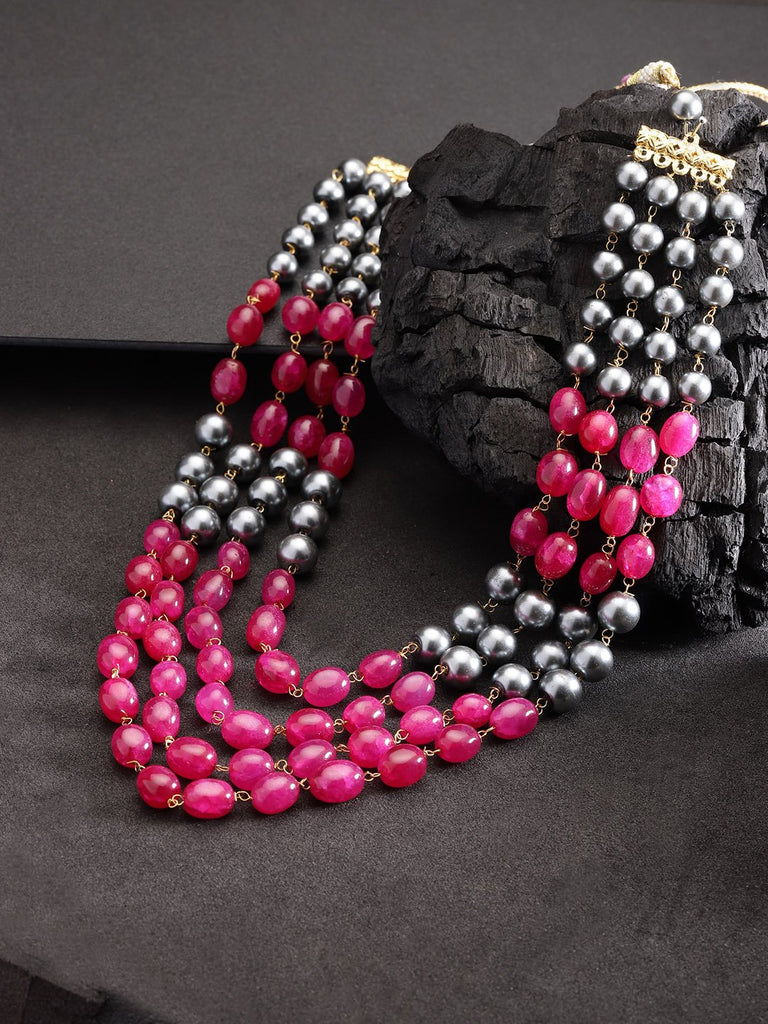 Magenta & Grey Brass-Plated Beaded Layered Necklace