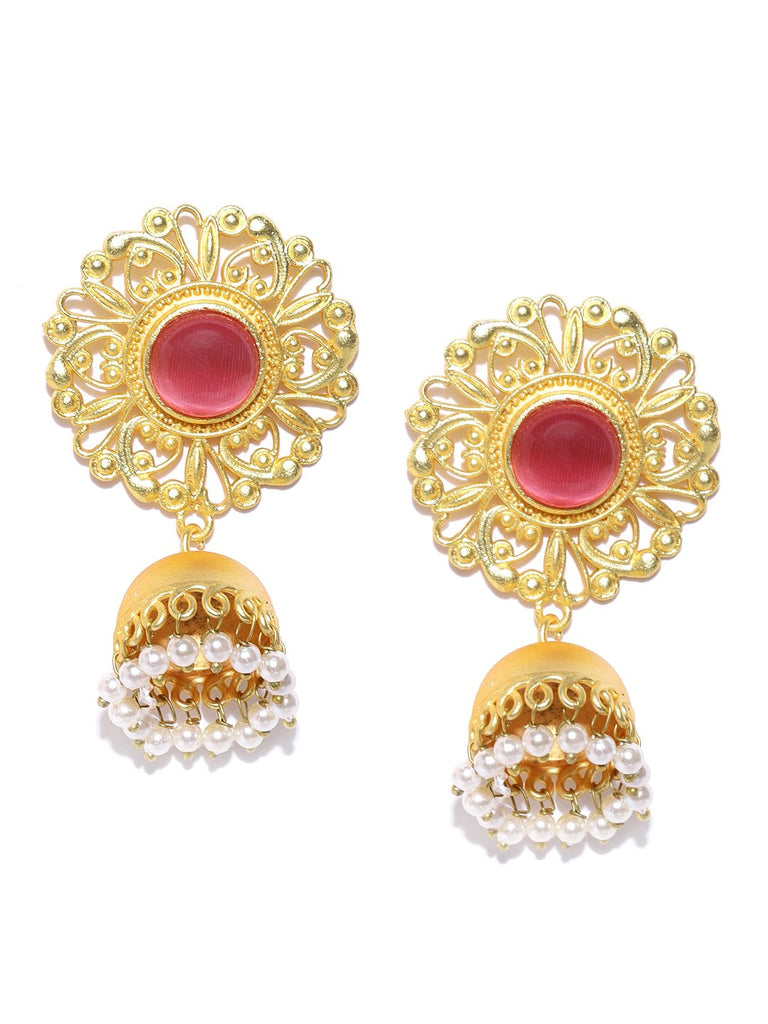 Pink Gold-Plated Stone-Studded Handcrafted Dome Shaped Jhumkas