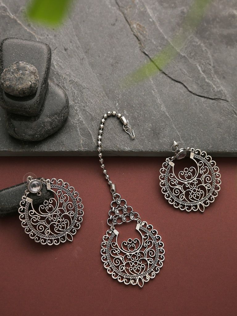 Infuzze Silver Oxidized jewellery set