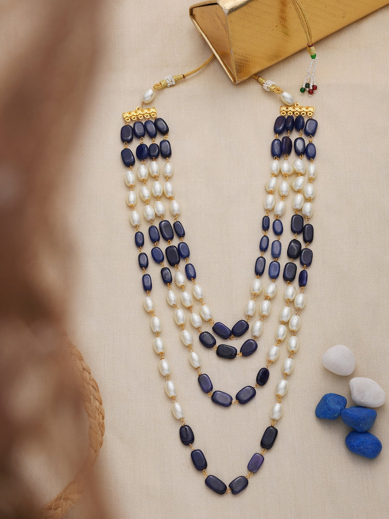 Blue Layered Pearl Necklace