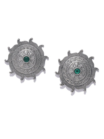 Silver-Plated Stone Studded Oxidised Circular Studs