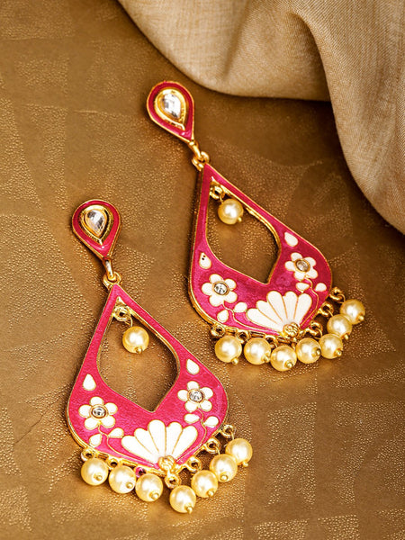 Pink & White Gold-Plated Meenakari Teardrop Shaped Drop Beaded Earrings