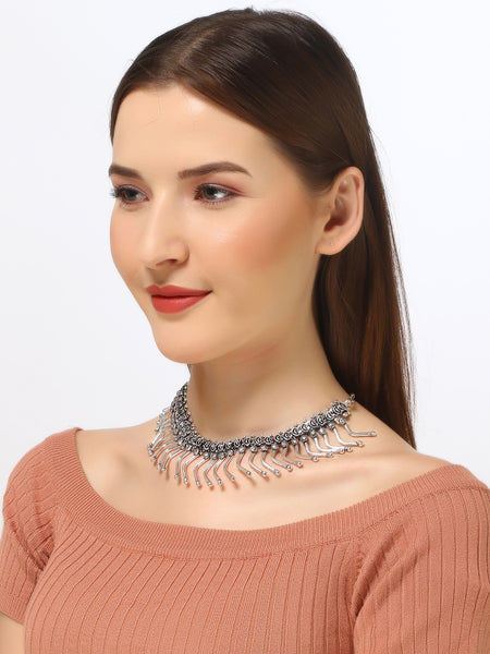 Infuzze Silver-Plated Oxidised Choker Brass Necklace - Z0094