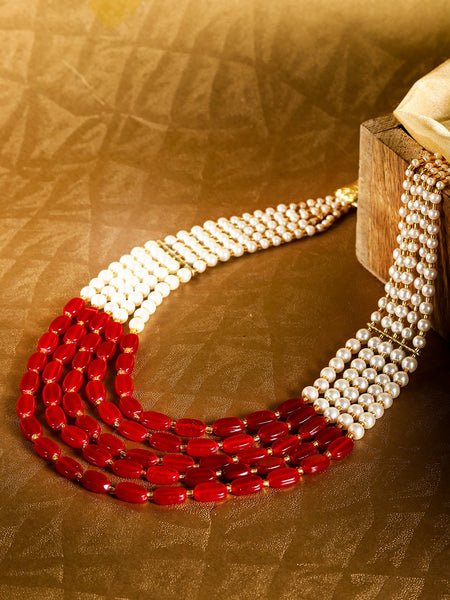 Red & Off-White Gold-Plated Beaded Layered Necklace
