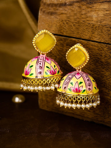 Yellow & Pink Gold-Plated Hand-Painted Dome Shaped Jhumkas