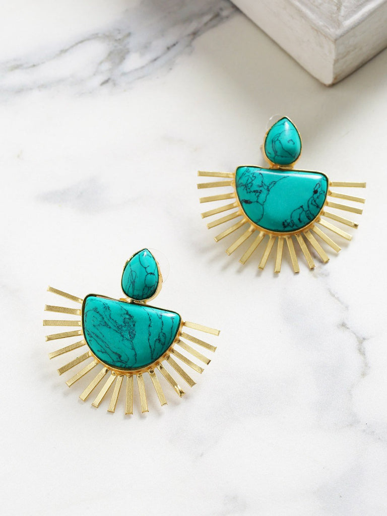 Turquoise Blue Gold-Plated Handcrafted Stone-Studded Geometric Drop Earrings