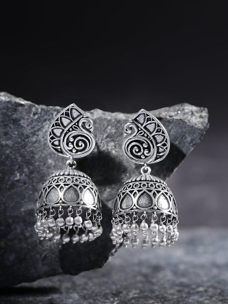 Oxidised Silver-Plated Dome Shaped Jhumkas