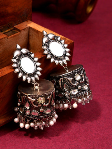 Infuzze Silver-Plated Oxidised Stoned and Beaded Alloy Jhumka - Z0099