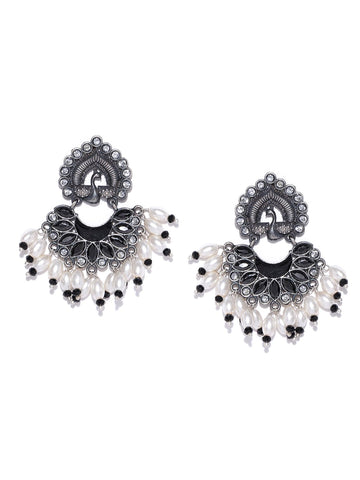 Black & White Oxidised Silver-Plated Stone-Studded Cresent Shaped Chandbalis