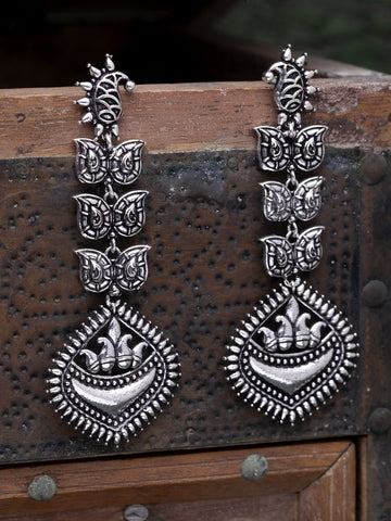 Oxidised Silver-Toned Classic Drop Earrings