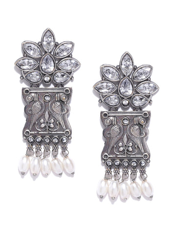 White Oxidised Silver-Plated Stone-Studded Peacock Shaped Drop Earrings