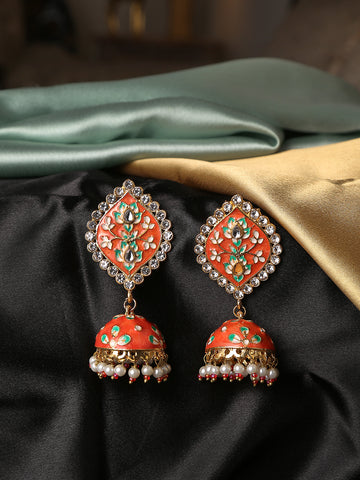 Infuzze Orange Meenakari Earrings