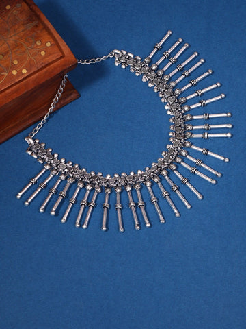 Infuzze Silver-Plated Oxidised Choker Brass Necklace - Z0093