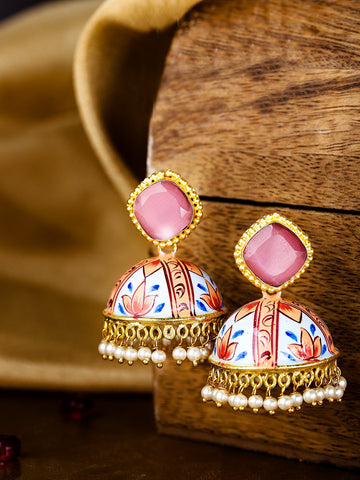 Blue & Peach-Coloured Gold-Plated & Hand Painted Dome Shaped Beaded Jhumkas