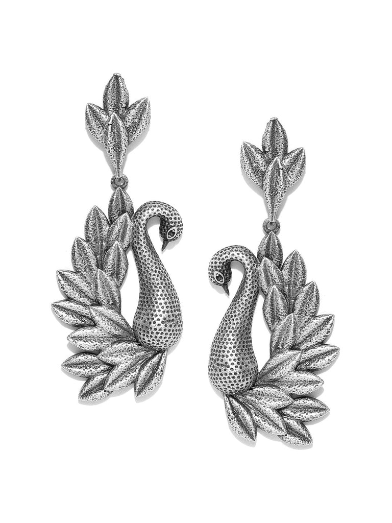 Silver-Plated Oxidised Peacock Shaped Drop Earrings