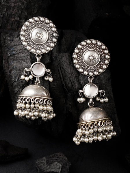 Silver-Plated Oxidized Dome Shaped Stone Studded & Beaded Jhumkas