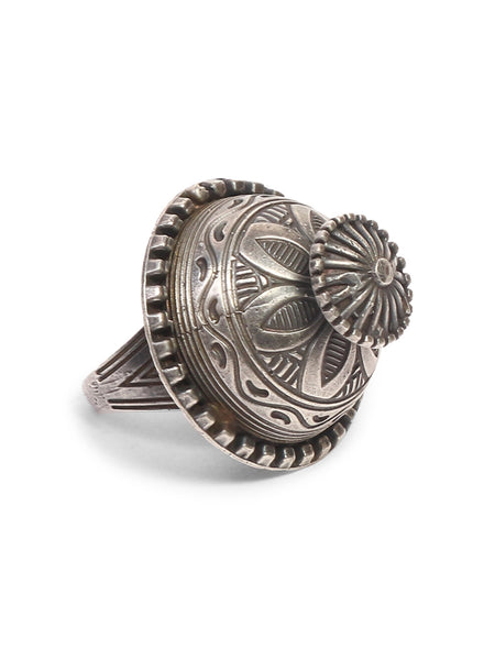 Infuzze Silver-Plated Oxidised Brass Ring - Z0044