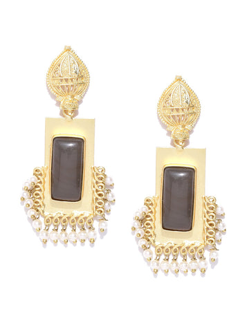 Charcoal Grey Gold-Plated Stone-Studded Geometric Handcrafted Drop Earrings