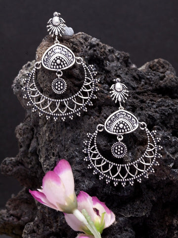 Oxidised Silver-Toned Brass-Plated Crescent Shaped Chandbalis