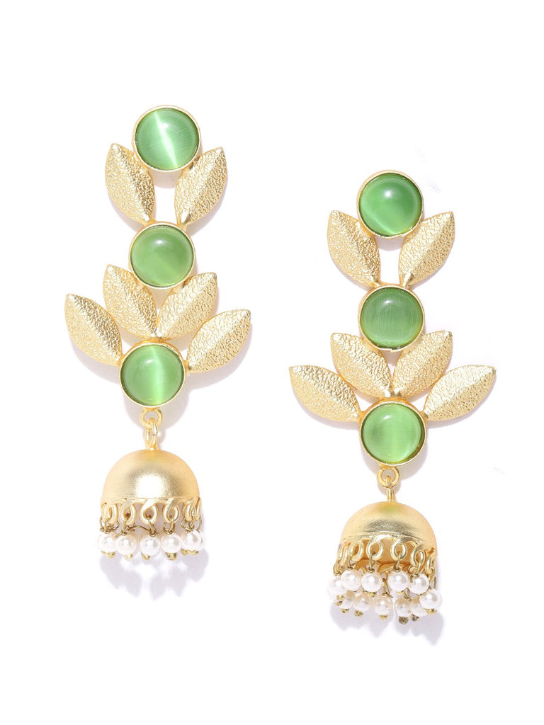 Green Gold-Plated Stone-Studded Handcrafted Leaf Shaped Drop Earrings