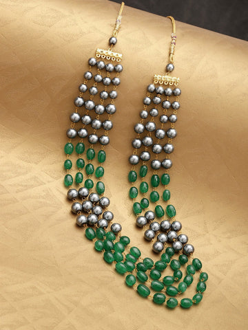 Green & Grey Brass-Plated Beaded Layered Necklace