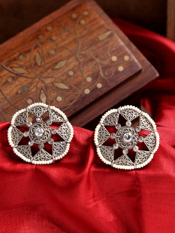 Infuzze Silver-Plated Oxidised Stoned and Beaded Brass Studs - Z0068