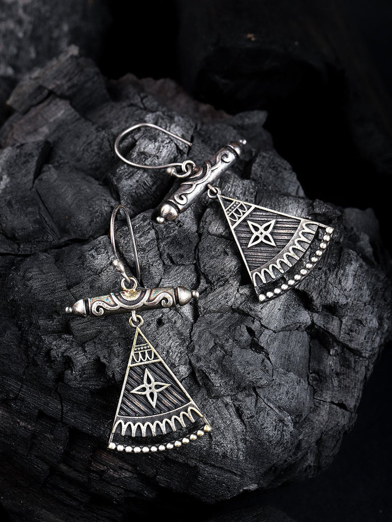 Silver-Toned Oxidised Triangular Drop Earrings