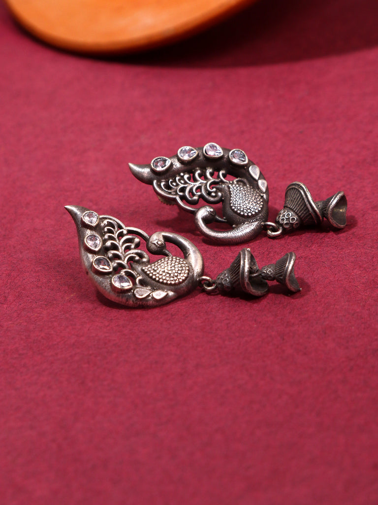 Infuzze Silver-Plated Oxidised White Stoned Brass Jhumka - Z0053