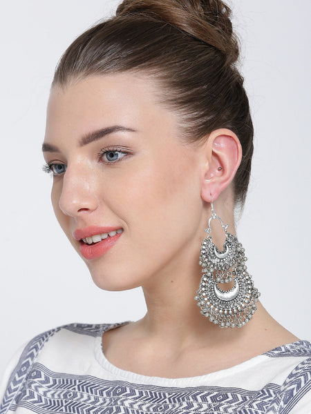 Infuzze Oxidised Silver-Toned Textured Drop Earrings Metal Drop Earring - A007