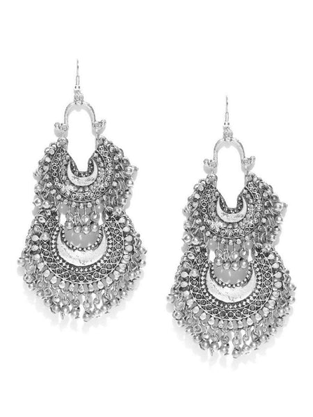 Infuzze Oxidised Silver-Toned Textured Drop Earrings Metal Drop Earring