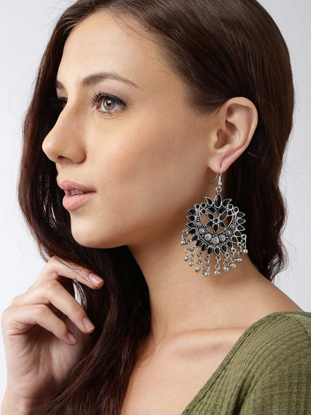 Infuzze Oxidised Silver-Toned & Black Circular Drop Earrings Alloy Drop Earring - C008