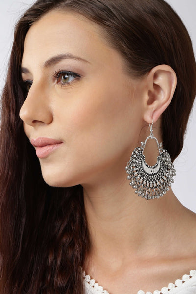 Infuzze Oxidised Silver-Toned Crescent Shaped Drop Earring - C016