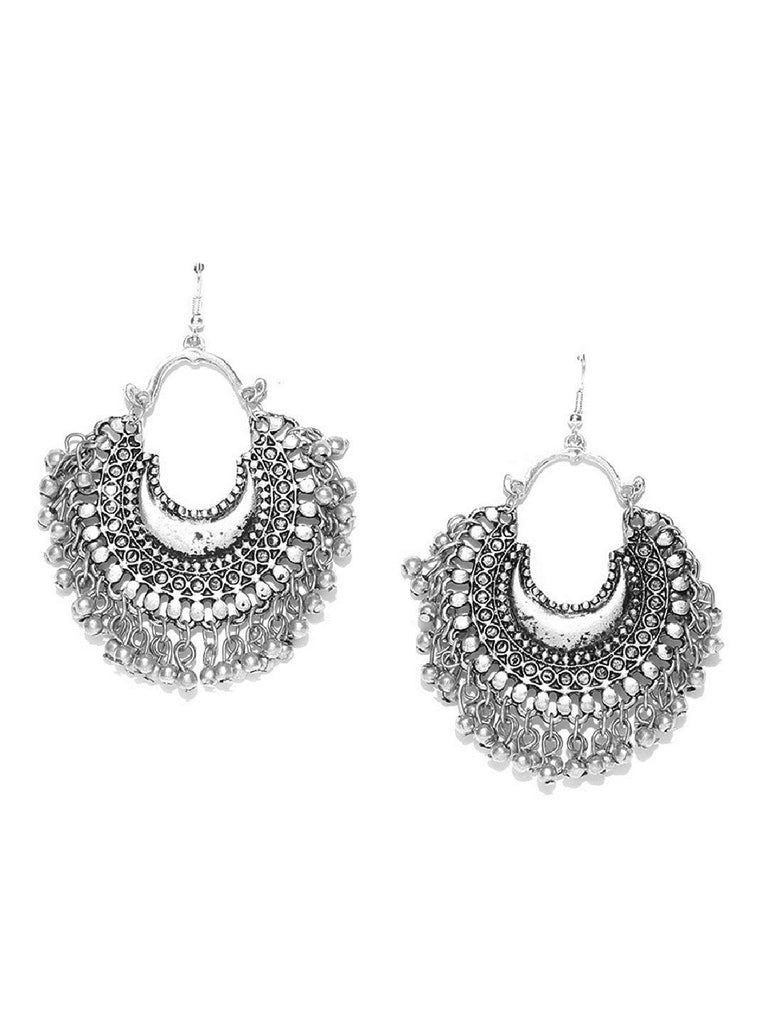 Infuzze Oxidised Silver-Toned Crescent Shaped Textured Drop Earrings Alloy, Metal Drop Earring