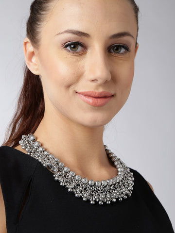 Infuzze Silver-Toned Textured Statement Necklace Metal Necklace