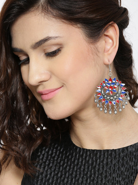 Infuzze Blue & Red Crescent-Shaped Drop Earrings Alloy Drop Earring - E005