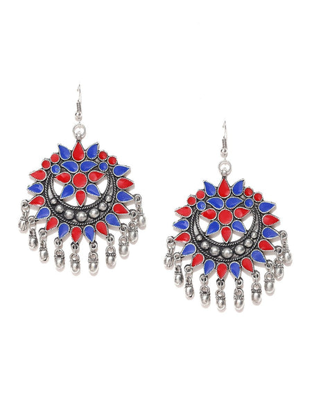 Infuzze Blue & Red Crescent-Shaped Drop Earrings Alloy Drop Earring