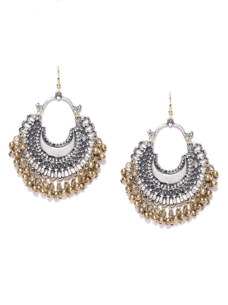 Oxidised Silver & Antique Gold-Toned Crescent-Shaped Chandbalis