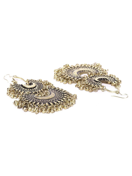 Infuzze Antique Gold-Toned Alloy Chandbali Earring - F032