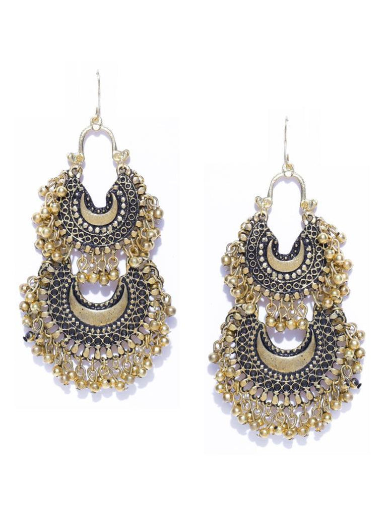 Infuzze Antique Gold-Toned Layered Chandbalis Alloy Chandbali Earring