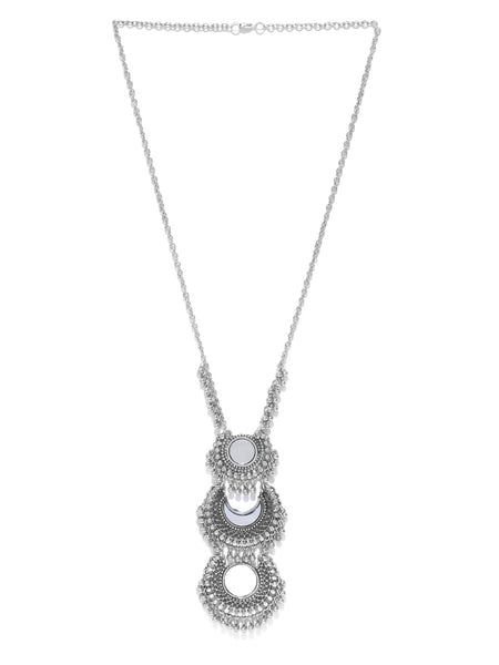 Infuzze Oxidised Silver Toned Alloy Necklace - G008