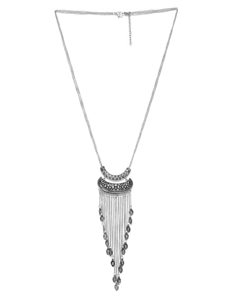 Infuzze Oxidised Silver Toned Alloy Necklace - G036