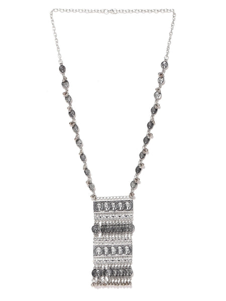 Infuzze Oxidised Silver-Toned Textured Cut-Out Necklace - H020