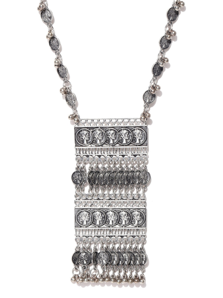 Oxidised Silver-Toned Textured Cut-Out Necklace