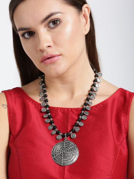 Infuzze Oxidised Silver Toned Necklace Alloy Necklace