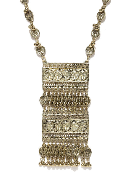 Infuzze Antique Gold-Toned Tribal Necklace