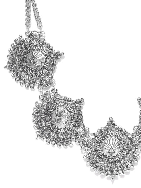 Infuzze Oxidised Silver-Toned Statement Necklace - M007