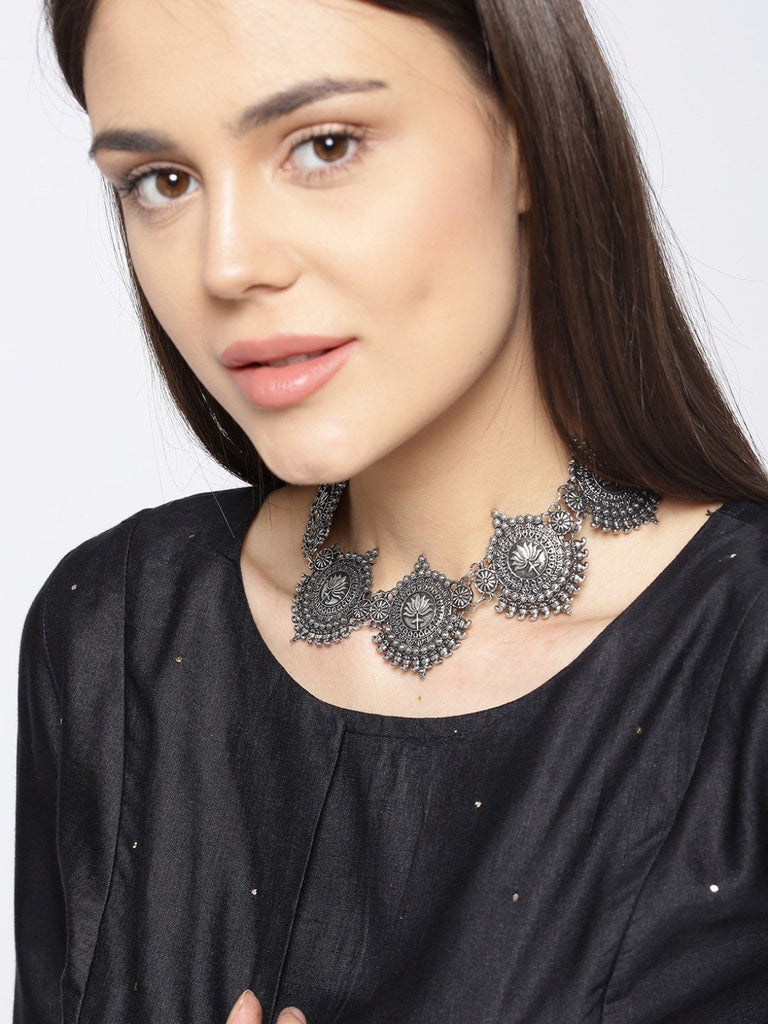 Infuzze Oxidised Silver-Toned Statement Necklace