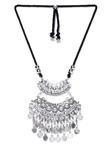 Infuzze Oxidised Silver-Toned & Black Textured Tribal Necklace - M036