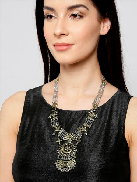 Infuzze Antique Gold-Toned Textured Necklace - M054