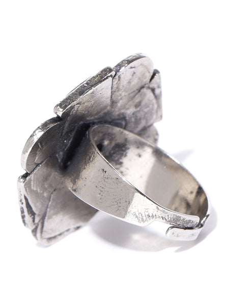 Infuzze  Oxidised Silver-Toned Textured Ring